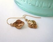 Dainty brass gold earrings on 14K gold fill ear wires. Petite art nouveau dangle earrings.