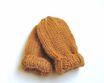 Hand Knit Baby Mittens, Ready To Ship, 6 to 12 Months Thumbless Mitts Baby Boy Clothing Baby Girl Clothing Warm Winter Wear Orange Rust