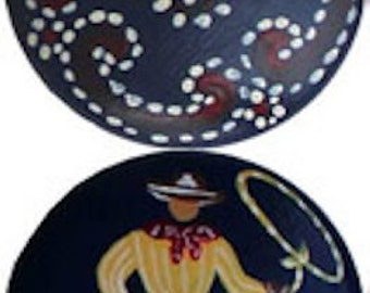 Set of 8 - 2 inch Dark Blue COWBOY & BANDANA Knobs - Hand Painted Wooden Knobs