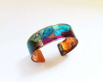 "The Original Patina Cuff - Purple & Mixed Verdigris 3/4"" Copper Cuff"