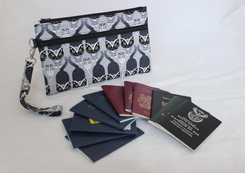 Family passport holder travel document organizer by for Family travel document organizer