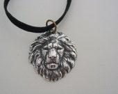 Silver Oxidized Finish Freya's Lion Talisman Necklace Leo Horoscope Necklace