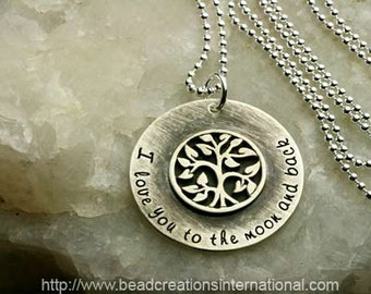 NEW Sterling Silver I Love You To The Moon and Back with a Soldered Small Tree Charm Hand Stamped Necklace