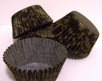 Black and Gold Vine Cupcake Liners- Choose Set of 50 or 100