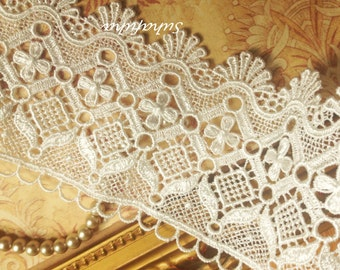 """Ivory Scalloped Shell Edge Venise Lace Trim 1 yd x 3 """" wide for Journals Scrapbooking Altered Crafts"""