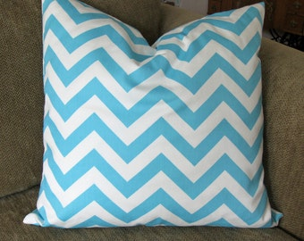 "One Decorative Pillow Cover, 18"" x 18"", Chevron Stripe  in Aqua and White, Zipper Closure, Washable"