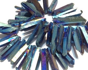 Natural rock crystal points druzy type titanium coated Aqua blue color