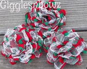 SaLE!! CHRiSTMaS FuN Red/Green/White- Set of 3 Gorgeous Shabby Chic Frayed Chiffon and Lace Rose Flowers- 3.5 inch