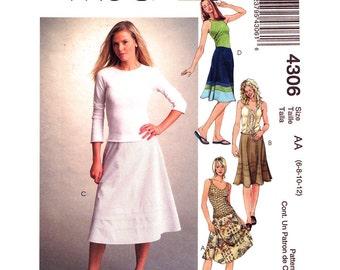 Flared Skirt Pattern McCalls 4306 Bias Skirt Contrast Band Womens Sewing Pattern Size 6 8 10 12 UNCUT