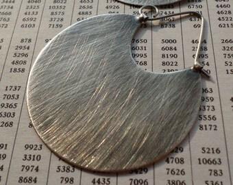 Sterling Silver Hoop Earrings, Extra Large Sleek Modern Contemporary Urban  Metalsmith Hoop Silver Jewelry, Big Striking Brushed Silver Hoop