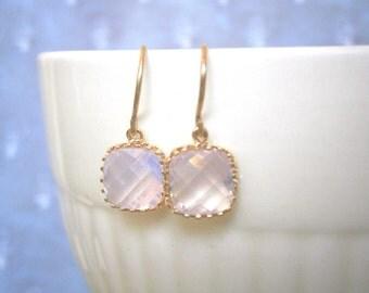 Blush Pink Opal Earrings, Petite Earrings, Gold Earrings, Silver Earrings, Mothers Day Jewelry, Mom