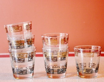 Set of 6 mid century rocks glasses