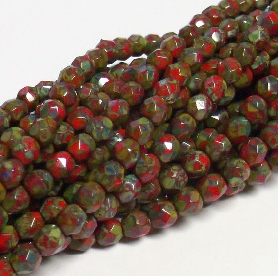 20% Off - Limited Quantity - Czech Fire-Polished Glass Faceted Round - 4mm - Opaque Red Picasso - 50 Beads