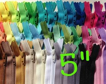 SALE, 5 inch YKK Zipper assortment, 40 pcs, 40 colors, match colors on bright, light, and neural fabrics, dress, pouch, all purpose YKK zips
