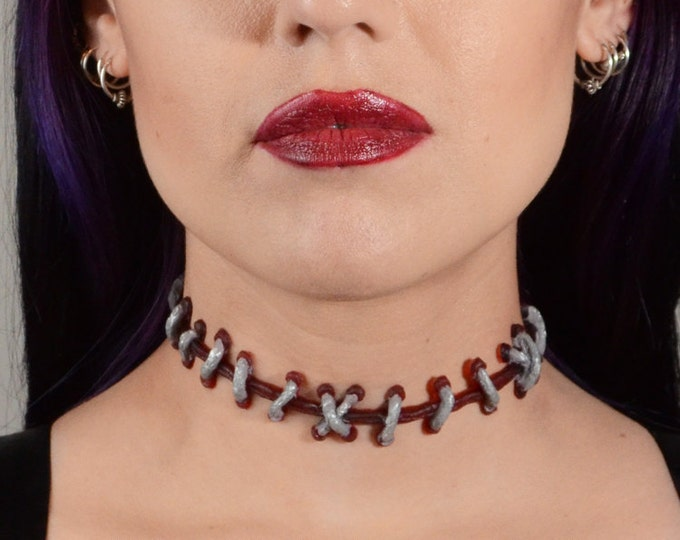 Stitch choker -zombie frankenstein stitch necklace