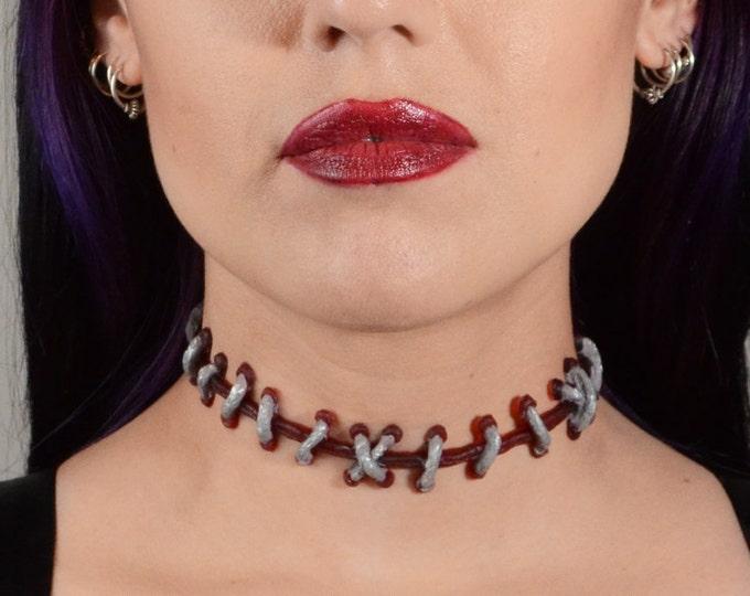 psychobilly jewelry-zombie frankenstein stitch necklace