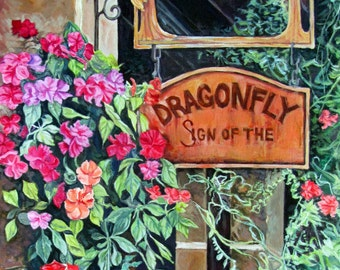 "5x7 Hand Mounted Hand Signed Art Card- ""Sign of the Dragonfly"""