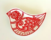 Ceramic Bird Dish Red and White Painted Holiday Christmas Decorative Plate Modern Polish Folk Art Spring Home Decor Ring Dish READY TO SHIP