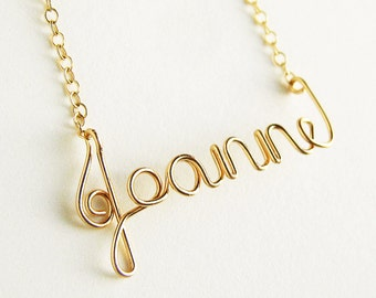 14k Solid Gold Name Necklace. 14K Solid Gold Custom Personalized Name Necklace.