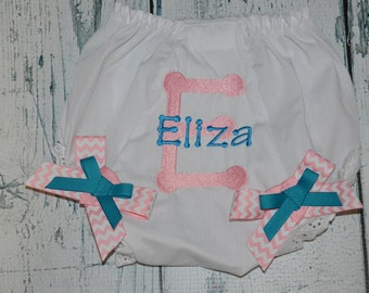 Personalized Baby Bloomer, Initial and Name Embroidered Diaper Cover, Monogrammed Bloomers,
