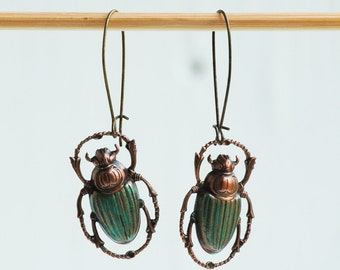 Steam Punk Green Beetle EARRINGS Nature Study Victorian Scarab Bug Jewelry Wes Anderson Inspired Jewelry