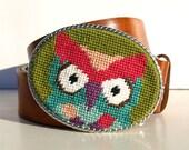Needlepoint  Kitschy Owl Belt buckle