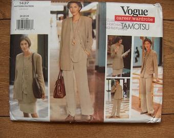 vintage 1994 vogue pattern 1437 misses jacket pants top skirt vest sz 20-22-24 uncut