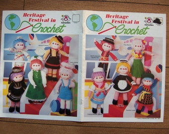 vintage 80s crochet patterns doll clothes Heritage Festival in Crochet
