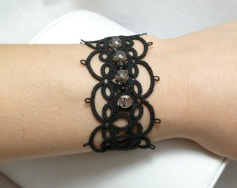 Tatted black Lace Cuff Bracelet -Effervescence MTO many color choices
