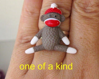 Sock Monkey adjustable RING adorable mono cute animal kawaii collectible for birthday gift teen girls women collector