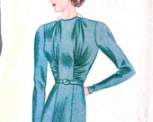 UNcut 1930s Dress Pictorial Review Printed Pattern 9154 Vintage Sewing   Bust 34 inches