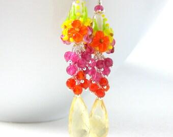 Colorful Gemstone Earrings, Floral Earrings, Pink Orange Yellow Earrings, Pink Quartz Citrine Carnelian Earrings, Lampwork Earrings - Aloha