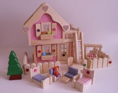 Wooden Dollhouse, Deluxe Pink Doll House, Wood Toy Furniture set, Waldorf, Handmade Kids Easter gift, Jacobs Wooden Toys 'PINK LEMONADE'