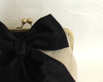 Black Bow Bridal Clutch - Black Bow Wedding Clutch - Bridesmaids Clutch - Black Bridal Clutch - Mari Clutch