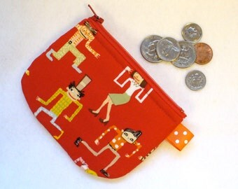 CLEARANCE SALE Dancing Fools Dancers Mini Coin Purse Zipper Change Purse Fabric Coin Purse Red Alexander Henry Handmade