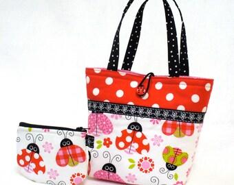 Little Girls Purse Coin Purse Set Ladybug Fabric Mini Tote Bag Childs Purse Kids Bag Pink Red Polka Dot Handmade MTO