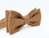 Mens Bow Tie - Cocoa Brown Irish Herringbone Tweed