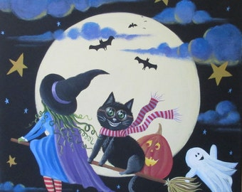Hold on Tight ORIGINAL Halloween Folk Art Large PAINTING