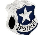 Blue Police Shield European Euro Bead Charm 15mm Double Sided 3D Metal Bead Spacer Bead Silver Bead Police Star
