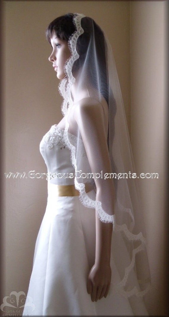 Fingertip Mantilla Style Wedding Veil with Re-embroidered 1 inch Lace