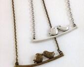 bird necklace - bird on a branch necklace - bird on a branch - love necklace - couple necklace - closing shop, please min. order 10 usd
