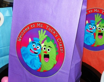Monster Goody Bags w/Sticker Seals Included. Monster Birthday Party Favor Bags. Monster Loot Bags. Monster Party. Set of 10. Can Customize