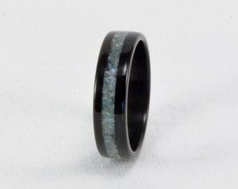 Wood Ring - Size 10, 6mm Wide - Abalone Shell Inlay, Ebony Bentwood Ring - Natural - Wedding Band, Wedding Ring, Engagement Ring - Handmade