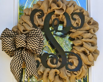 Large Burlap Wreath with Single Letter Vine Monogram Painted Black and Chevron Burlap Ribbon Customize for you with your own Monogram
