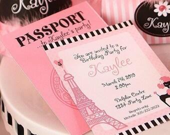 BIRTHDAY Paris Invitation Personalized -Printable pdf Complete