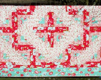 "Twin Quilt Log Cabin Scrumptious fabric by Bonnie and Camille for Moda 63"" x 86"""
