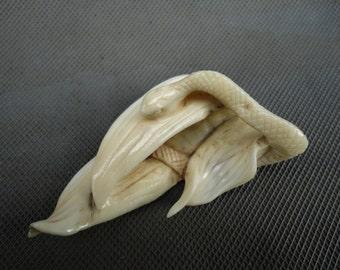 Antique Victorian Netsuke Snake in Bamboo Leaves for Pendant