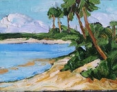 Impressionist FLORIDA Beach PALMS Plein Air Seascape Pacific Gulf Painting 11x14 Landscape Art Lynne French
