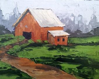 Original Impressionist Painting FARM BARN Meadow GARDEN Landscape 11x14 Lynne French