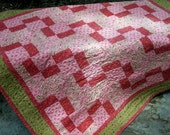 Lap Quilt Peach Tan Rose Pink *Free Shipping Ready To Ship*